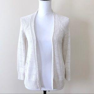 Banana Republic Cardigan Sweater Open Knit Cream M